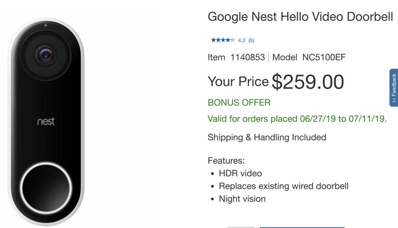 Nest hello doorbell deal costco