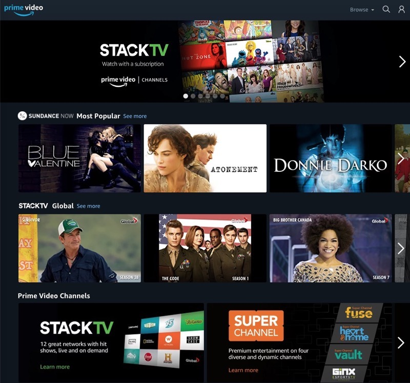 Amazon Prime Video Channels Now Live in Canada, Offering Pay TV