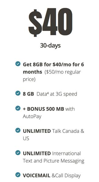 Public mobile $40 8 5gb