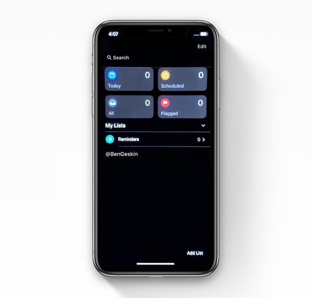 Reminders app dark mode