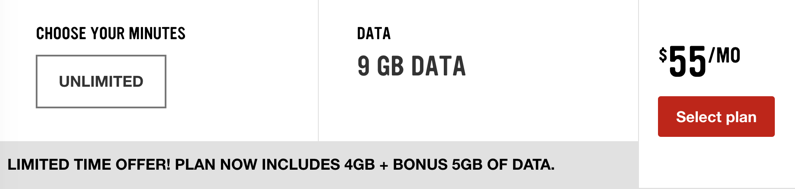 virgin $55 9gb