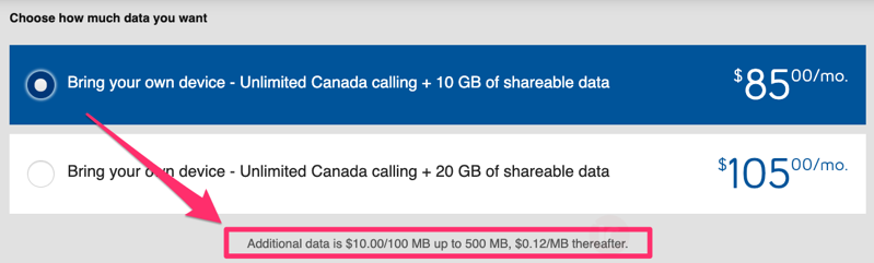 Bell data overage increase
