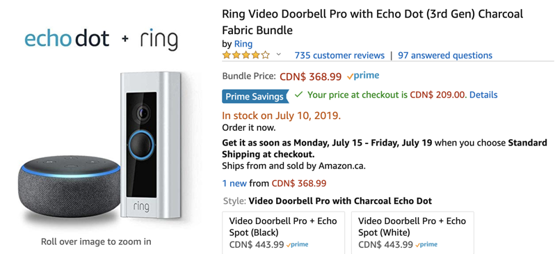 Echo dot + ring
