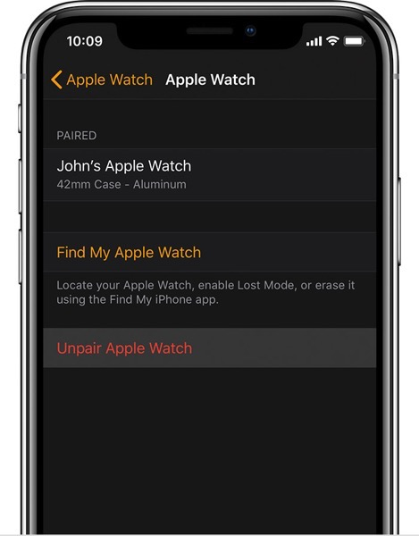 Ios12 watchos5 watch mywatch info unpair apple watch ontap