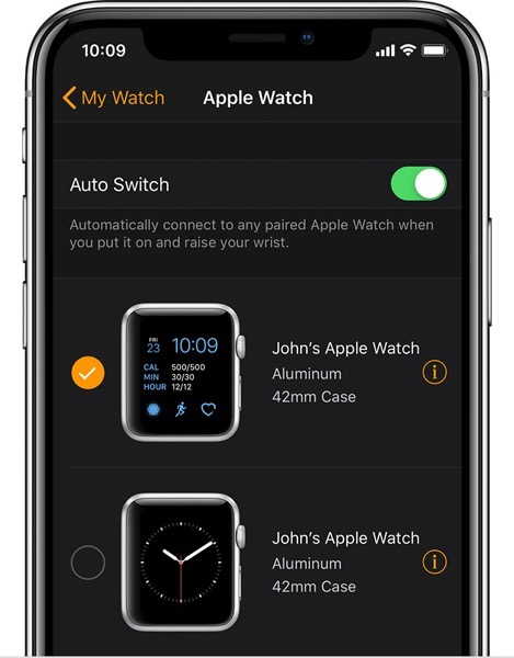 Ios12 watchos5 watch on mywatch two watches paired