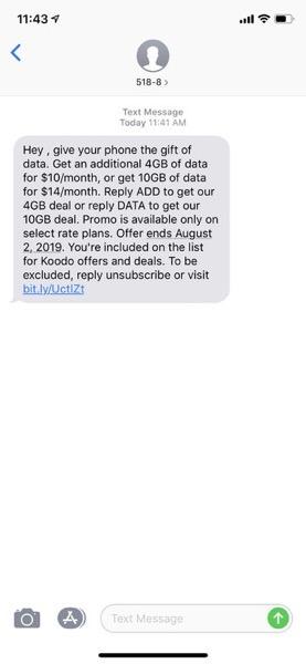 Koodo text offer