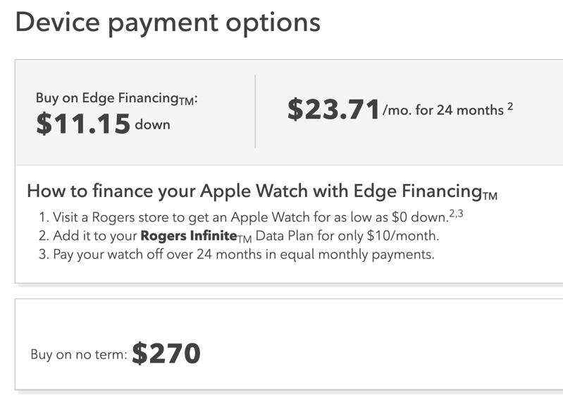 Rogers series 3 apple watch