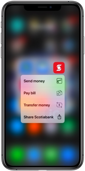 Scotiabank ios 3d touch