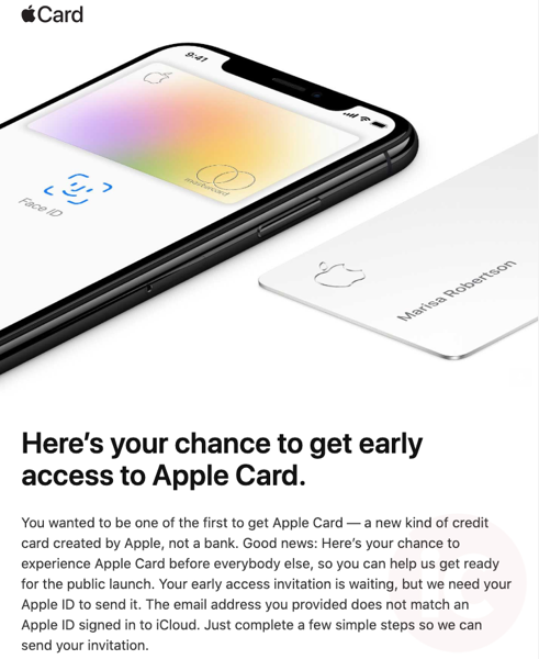 Apple card invite email