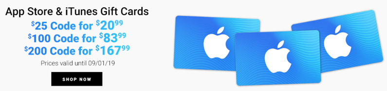 Apple itunes gift cards sale