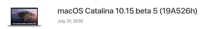 MacOS catalina 10 15 beta 5