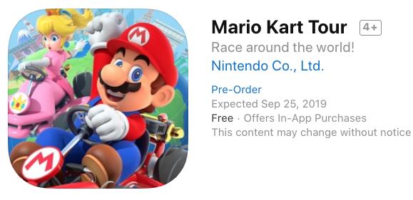 Mario kart tour ios pre order