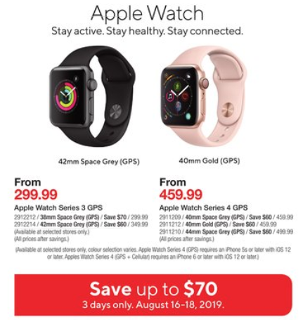 Save Up to $70 Off Apple Watch Series 3 and 4 Models at Staples