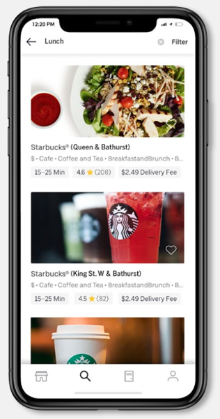 Starbucks delivers uber eats