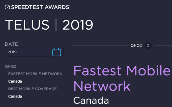 Telus Named the Best Mobile Network in Canada for Q1-Q2 by