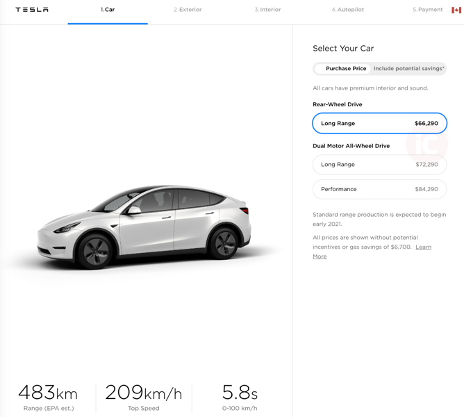 Tesla model y pricing canada