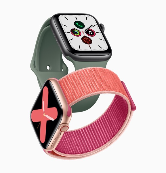 Apple watch series 5 gold aluminum case pomegranate band and space gray aluminum case pine green band 091019 big jpg large 2x