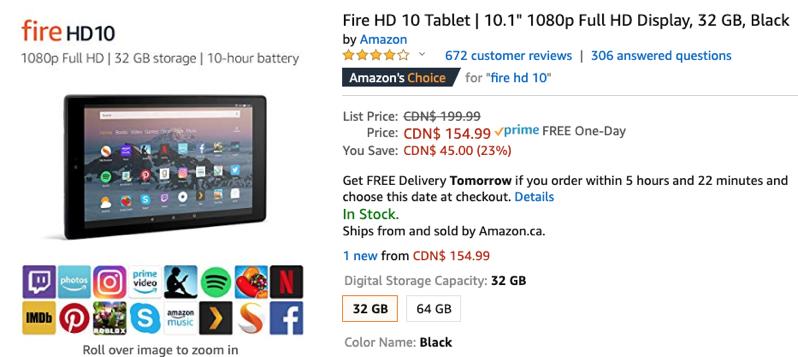 Amazon fire HD 10 sale