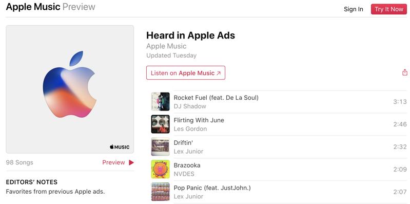 Apple music ads playlist