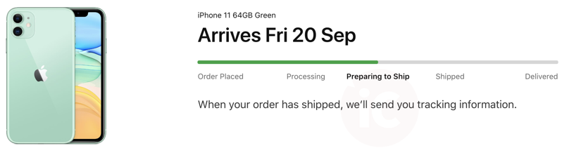 Iphone 11 preparing to ship