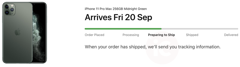 Iphone 11 pro max preparing to ship