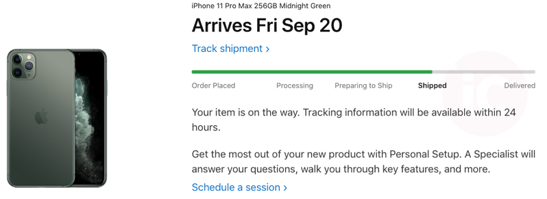 Iphone 11 pro max shipped