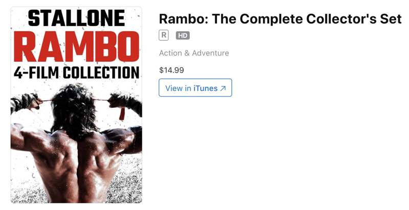 Apple iTunes Sale: Rambo 4-Film Collection for $14.99 in 4K, Dolby Vision