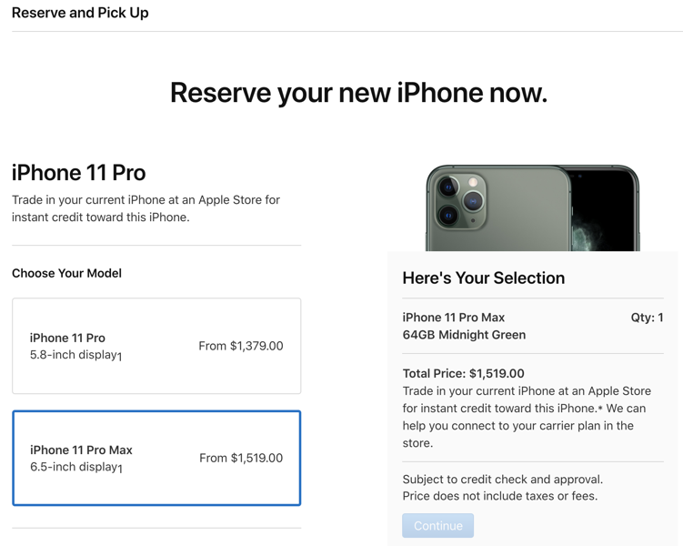 Reserve and pick up iphone 11 canada