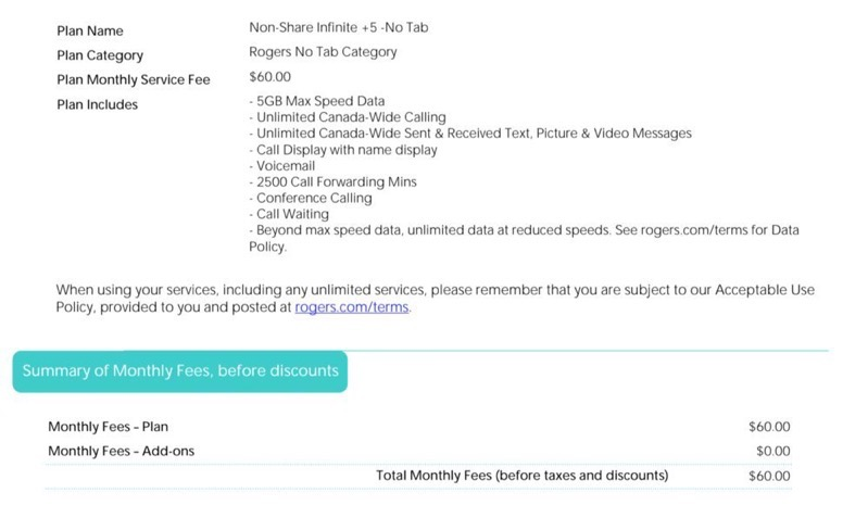 Rogers infinite plan $60 8GB