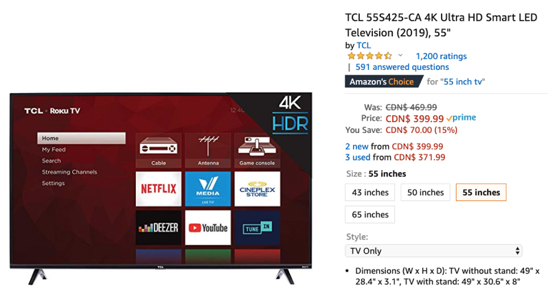 TCL 4K LED Roku TVs on Sale at All-Time Lows: $399 for 55″ and More