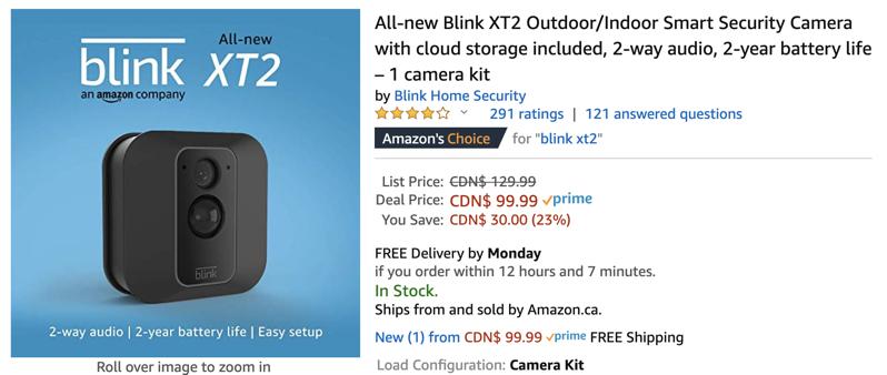 Blink xt2 camera sale low