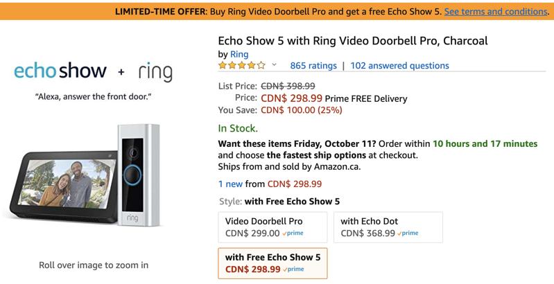 Amazon Promo: Buy Ring Video Doorbell Pro, Get Free Echo Show 5 ($99 Value)