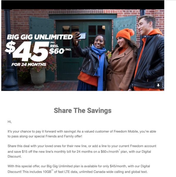 Freedom mobile friends and family october 2019