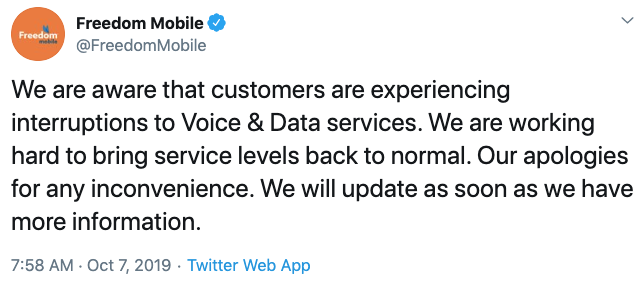 Freedom mobile service outage