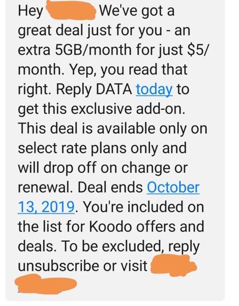 Koodo 5GB for $5