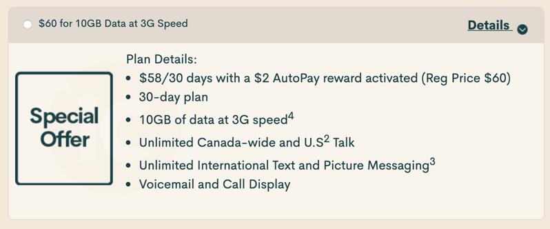Public mobile $58 10GB