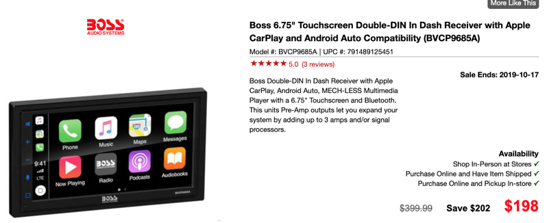 Boss 6.75″ Car Receiver with Apple CarPlay, Android Auto on Sale for 50% Off at $198