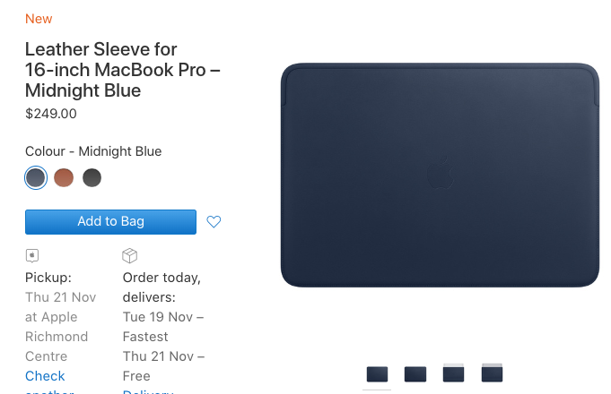 Apple's Leather Sleeve for 16-inch MacBook Pro Costs $249 in Canada