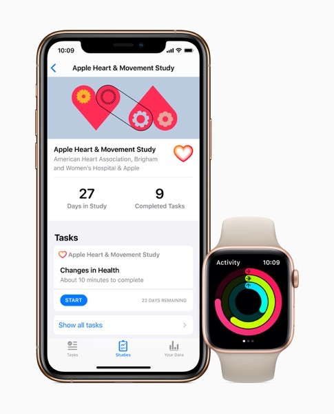 Apple research app heart and movement study screen iPhone11Pro AppleWatchSeries5 111419 inline jpg large 2x