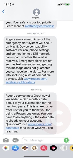 Rogers service msg Great news We added a 5GB monthly data bonus to your current plan for the next two years This is an exclus