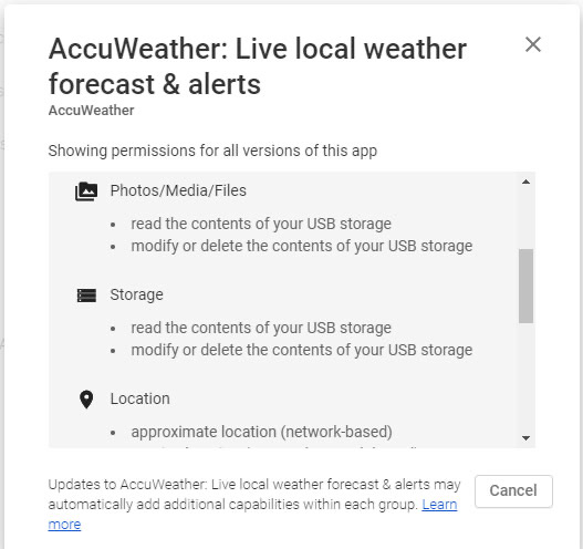 Accuweather permissions