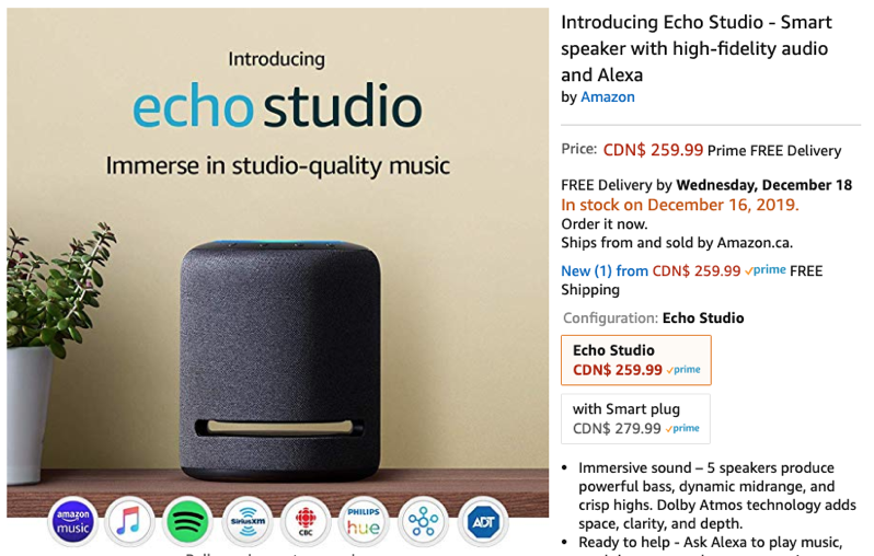 Amazon echo studio sold out