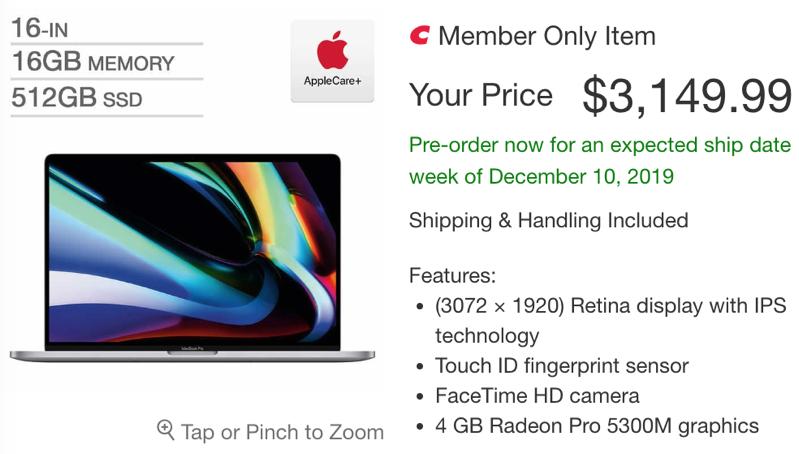 Costco 16 inch macbook pro