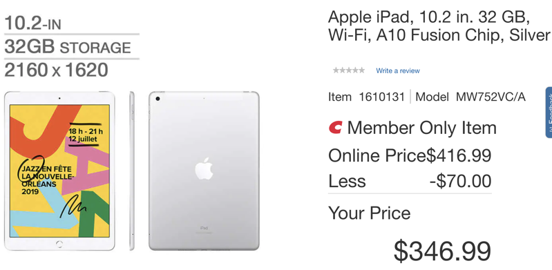 Costco ipad 10 2 deal