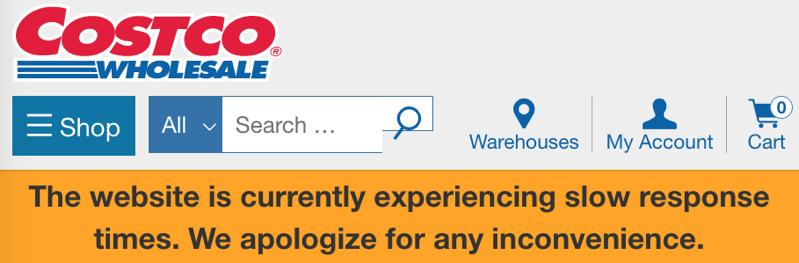 Costco website error