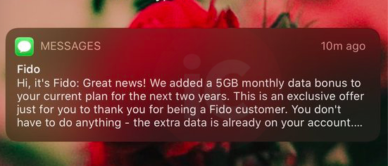 Fido 5gb free monthly data