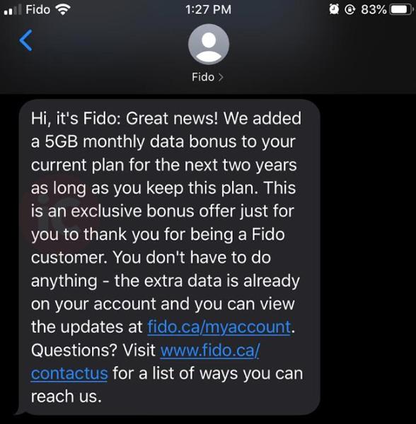 Fido data bonus 5GB