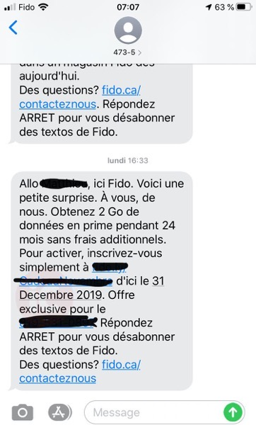 Fido free 2gb data