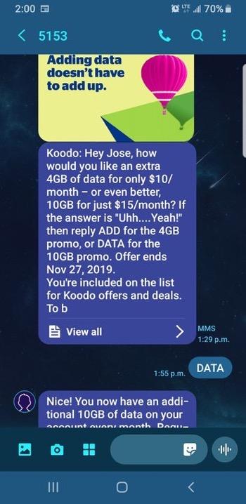 Koodo extra data
