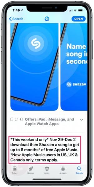 Shazam apple music free